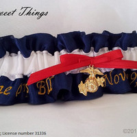 Marine Corps Ball Keepsake Garter with Gold Tone Button or EGA Charm - Navy Blue