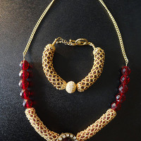 Garnet Netted Stitch Bracelet and Necklace with Gold Plated Seed Beads