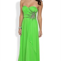 Strapless Long Homecoming Dress with Sweetheart Neck and Stone Burst