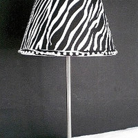 ZEBRA PRINT & BLING Silver Lamp - Silver Decor Lamp and Zebra Print Lamp Shade w/ Clear Rhinestones