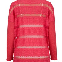 Lace Stripe back pullover knit top