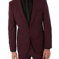 West End by Simon Carter Burgundy Tipped Slim Fit Suit Jacket - Mens Suits View All - Suits