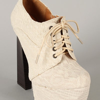 Qupid Monte-12A Lace Up Round Toe Platform Bootie