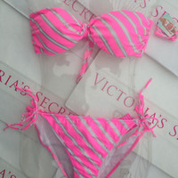 New sexy Victoria's Secret Belle Bandeau Bikini Set L Gold Foil Stripe Pink