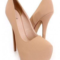 Nude Closed Toe Platform Pump Heels Nubuck
