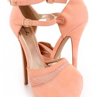 Blush Closed Toe Sexy Heels Faux Leather