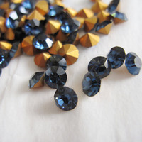 Vintage Swarovski Rhinestones Crystals Chaton 32pp SS17 PP 32 Montana Sapphire Blue Round Point Back 4 mm Wholesale Lot 10 Jewelry Supplies