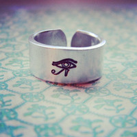 Horus eye protection aluminum cuff ring