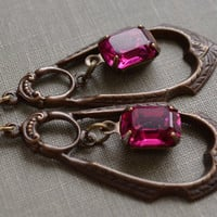 Hot Pink Art Deco Brass Earrings, Antiqued Brass Stamped Pendant, Fuchsia Rhinestone Lever Back Earrings