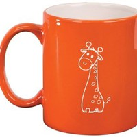 Orange Ceramic Coffee Tea Mug Cute Giraffe Cartoon
