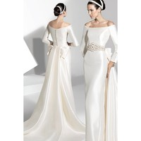 Compelling Off-the-shoulder Sheath Brocade Sleeved Wedding Gown