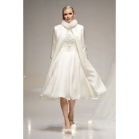 Marvelous Knee Length Winter Wedding Dress With a Cloak
