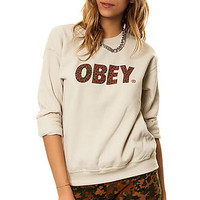 The Obey Cheetah Font Sweatshirt in Sand