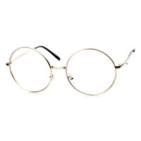 Vintage Era Super Large Round Circle Metal Clear Lens Glasses 8714