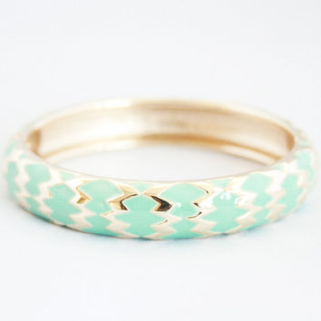 Mint and Gold Tribal Hinged Bangle