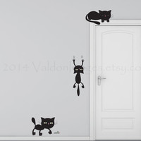 Playful cats wall decal, kitten wall sticker, wall graphic, sticker, decal , living room decal, vinyl decal in black, vinyl graphic decal