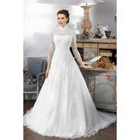 Elegant A-line High Collar Taffeta and Lace Sleeved Wedding Dress