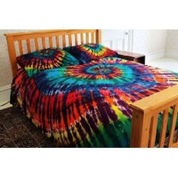 300tc College Dorm Duvet Cover Set - Extreme Rainbow Spiral Tie-Dye - Twin XL Size