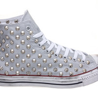 Studded Converse, Converse Silver High Top with Silver Cone Rivet Studs by CUSTOMDUO on ETSY