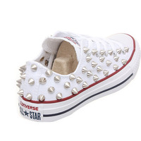 Studded Converse, Converse White Low Top with Silver Cone Rivet Studs by CUSTOMDUO on ETSY