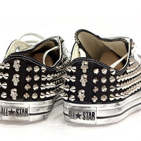 Studded Converse Silver cone and Skull with Black converse low top by CUSTOMDUO