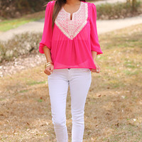 Ethnic Shield Blouse, Fuchsia