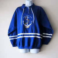 80s Nautical Anchor Blue & White Pullover -- Yacht Club Sailor Style, Preppy Hipster, Seapunk