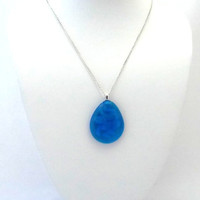 Sky blue Tear drop Glass Pendant Necklace, One of a Kind, Unique