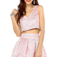 Floral Jacquard Crop Top in Pale Pink