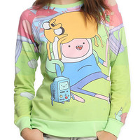 Adventure Time Finn Jake BMO Crew Pullover