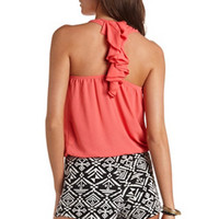 RUFFLED RACERBACK CROP TOP