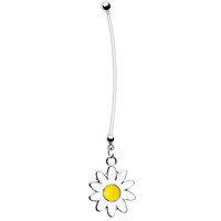 White Daisy Pregnant Belly Ring   Body Candy Body Jewelry