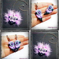 Evil Minion heart charm chibi necklace in polymer clay from Despicable Me movie - BBF - friendship - best friends forever - Valentine's day