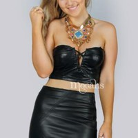 Black Faux Leather Crop Top