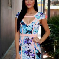 Floral Dress with Front Cut-Out and Capped Sleeves