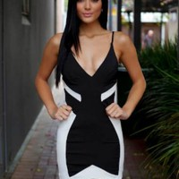 Black and White Spaghetti Strap Dress