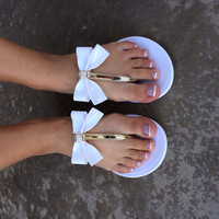 White Bow Jelly Sandals