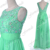 Mint Prom Dresses, 2014 Prom Gown, Long Prom Dresses, V Neck Chiffon and Lace Mint Prom Dresses, Mint Bridesmaid Dresses, Formal Gown