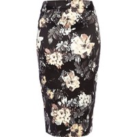 Black blurred floral print pencil skirt