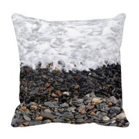 beach waves shore pillow