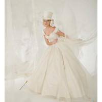 Organza and Applique Off The Shoulder Ballgown Wedding Dress