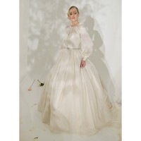 Chiffon Vintage Round Collar Long Sleeve Ballgown Wedding Dress