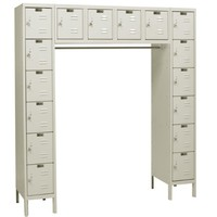 "Hallowell U1788-16A-PT Parchment Steel Premium 16 Person Box Locker, 72"" Width x 78"" Height x 18"" Depth, Assembled"