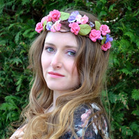 Floral crown, flower crown floral headband, Bridal crown, Wedding wreath, Boho garland, Cream and orange - 'Artemis'