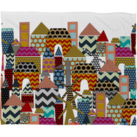 Sharon Turner Geo Town Fleece Throw Blanket