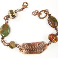 Fern Bracelet - Oxidized Copper Jewelry Green Brown Chunky Bead Bracelet Stamped Metal Woodland Jewelry