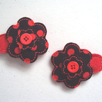 Red and Black Flower Felt and Fabric hair snap barrette clips for girls set of 2