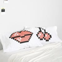 Cherry Kiss 8 Bit Pillowcase - Set Of 2 - Urban Outfitters