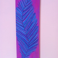 Feather painting, purple and blue acrylic feather