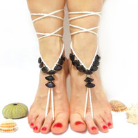 Summer sexy anklet- Barefoot sandles- Crochet barefoot sandal- Gothic Anklet- beaded sandals- Black and white bangle- Toe ring- Slave ankle